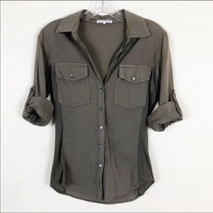 Standard James Perse Olive Khaki Button Down Small